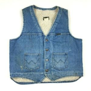 Vintage Wrangler Jean Denim Vest Mens XL Faded